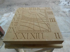 Carving the new sundial