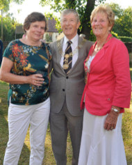 Gwyneth Gibbs with the Mayor and Mayoress, Tony and Val Story, at the annual St Leonard's Priory party